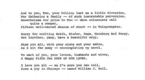 Days of Lives Anniversary Letters from William J  Bell